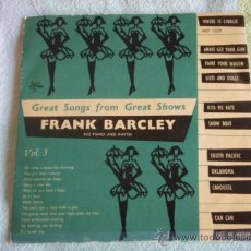 Discos de vinilo: FRANK BARCLEY HIS PIANO AND RHYTHM ' GREAT SONGS FROM GREAT SHOWS' VOL.3 EP45 METRONOME. Lote 9698280