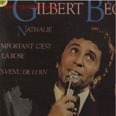 Discos de vinilo: DISCO L. P. DE VINILO DE GILBERT BÉCAUD: NATHALIE, SEUL SUR SON ETOILE, T'ES VENU DE LOIN, MON ARBRE. Lote 24773188