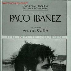 Discos de vinilo: DISCO L. P. DE VINILO PACO IBÁÑEZ, VISTO Y PINTADO POR ANTONIO SAURA: LA POESÍA DE HOY Y DE SIEMPRE.. Lote 34540183