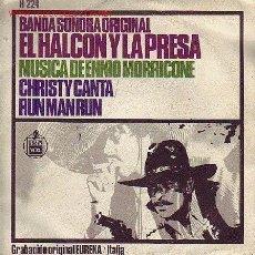 Discos de vinilo: EL HALC0N Y LA PRESA DISCO SINGLE BANDA SONORA ORIGINAL MORRICONE H224 1967 SPA ONE. Lote 21449765