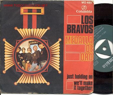 SINGLE 45 RPM / LOS BRAVOS / JUST HOLDING ON / WE'LL MAKE IT TOGETHER /EDITADO POR COLUMBIA 1968 (Música - Discos - Singles Vinilo - Grupos Españoles 50 y 60)