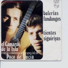 Discos de vinilo: SINGLE DEL AÑO 1970 DE CAMARON DE LA ISLA,CON LA COLABORACION DE PACO DE LUCIA,DE LA CASA PHILIPS. Lote 5459454