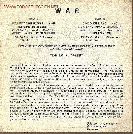 Discos de vinilo: War. 'You Got the Power'. 1982. - Foto 2 - 21901164