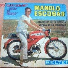 Discos de vinilo: MANOLO ESCOBAR - DE LA PELÍCULA JUICIO DE FALTAS - BELTER. Lote 26200028