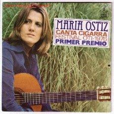 Discos de vinilo: MARIA OSTIZ. PRIMER PREMIO FESTIVAL OTI - 1976. CANTA CIGARRA, QUIERO ESTAR A TU LADO.. Lote 24720676
