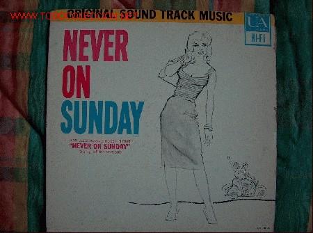 LP-NEVER ON SUNDAY, MUSICA DE MANOS HADJIDAKIS-ORIGINAL DE VENEZUELA, UNITED ARTISTS-1960 (Música - Discos - LP Vinilo - Bandas Sonoras y Música de Actores )