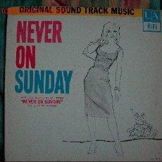 Discos de vinilo: LP-NEVER ON SUNDAY, MUSICA DE MANOS HADJIDAKIS-ORIGINAL DE VENEZUELA, UNITED ARTISTS-1960. Lote 7609504