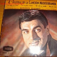Disques de vinyle: GEORGES BLANESS.........4º FESTIVAL MEDITERRANEO...1962. Lote 1997596
