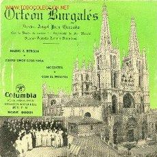 Discos de vinilo: UXV ORFEON BURGALES CON LA BANDA DE MUSICA DEL REGIMIENTO DE SAN MARCIAL HIMNO DE BURGOS. Lote 78424837