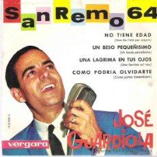 Discos de vinilo: JOSE GUARDIOLA - SAN REMO 64 ** NO TIENE EDAD *** VERGARA 1964. Lote 9798227