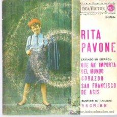 Discos de vinilo: RITA PAVONE - QUE ME IMPORTA EL MUNDO ** EP RCA VICTOR 1964. Lote 11564633