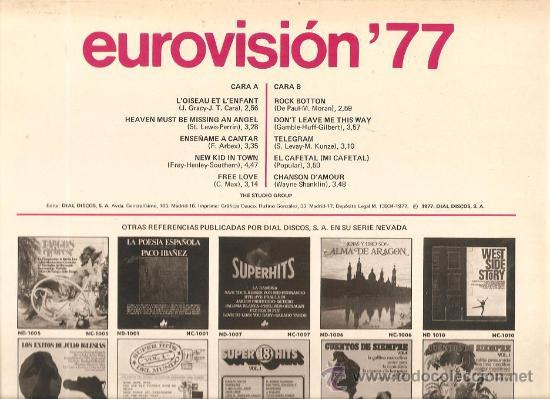 Discos de vinilo: LP EUROVISION 77 (1977), loiseau lenfant, enseñame a cantar, free love, rock botton - Foto 2 - 26720533