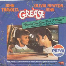 Discos de vinilo: UXV GREASE JOHN TRAVOLTA OLIVIA NEWTON JOHN SINGLE VINILO PROMOCIONAL PEPSI COLA 1978. Lote 158689938