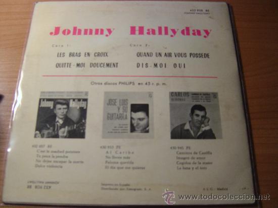 Discos de vinilo: JOHNNY HALLYDAY - EP JOHNNY HALLYDAY EDICION ESPAÑOLA PHILLIPS 432.908 BE, AÑO 1963 - Foto 2 - 26268206