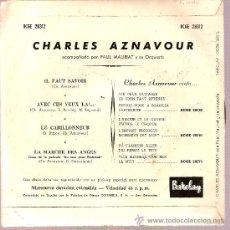 Discos de vinilo: DISCO VINILO EP BCGE 28312 CHARLES AZNAVOUR - IL FAUT SAVAOIR - AVEC CES YEUX - ED BARCLAY. Lote 10675692