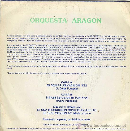 Discos de vinilo: UXV ORQUESTA ARAGON SINGLE VINILO PROMOCION ESPECIAL SALSA CARIBEÑA MUSICA CUBANA LATINOAMERICA - Foto 2 - 25696452
