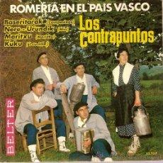 Discos de vinilo: DISCO VINILO EP 52137 LOS CONTRAPUNTOS ROMERIA EN EL PAIS VASCO BASERITARAK - KUKU ED BELTER. Lote 27366661