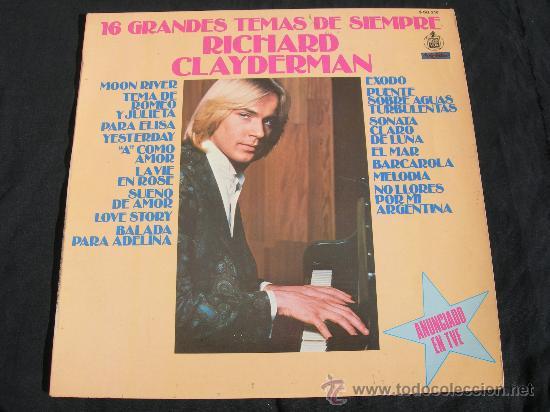 RICHARD CLAYDERMAN / 16 GRANDES TEMAS DE SIEMPRE (Música - Discos - LP Vinilo - Clásica, Ópera, Zarzuela y Marchas)