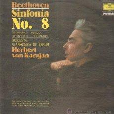 Discos de vinilo: BEETHOVEN SINFONIA NO. 8 ORQUESTA FILARMONICA DE BERLIN HERBERT VON KARAJAN. Lote 10945749