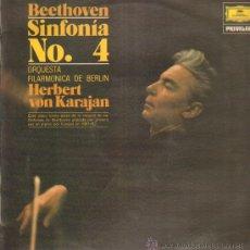 Discos de vinilo: BEETHOVEN SINFONIA NO. 4 ORQUESTA FILARMONICA DE BERLIN HERBERT VON KARAJAN. Lote 10945955