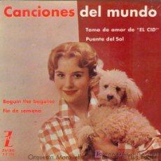 Discos de vinilo: UXV CANCIONES DEL MUNDO ORQUESTA MARAVELLA Y COROS DIRIGIDA LUIS FERRER CID BEGIN 1962 . Lote 47025442