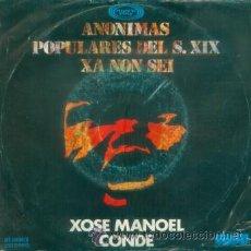 Discos de vinilo: XOSE MANOEL CONDE - ANONIMAS POPULARES DEL S.XIX SINGLE RARO DE FOLKLORE CANTADO EN GALLEGO DE 1978. Lote 13897671