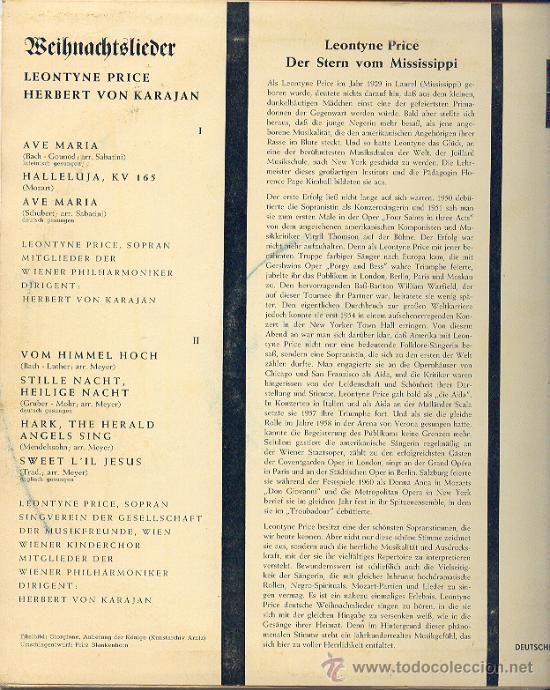 Discos de vinilo: NAVIDAD LP 25 CM 10 PULGADAS Leontyne Price, H. v. Karajan, Weihnachtslieder DECCA BD 5011-E, - Foto 2 - 22829043