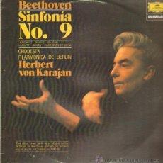 Discos de vinilo: BEETHOVEN SINFONIA Nº9 ORQUESTA FILARMONICA DE BERLIN HEBERT VON KARAJAN LP. Lote 11188624