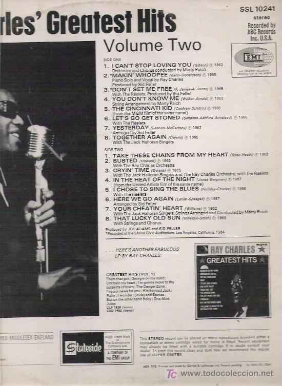 Discos de vinilo: RAY CHARLES` GREAT HITS - VOLUMEN TWO **** STATESIDE UK - Foto 2 - 11243609