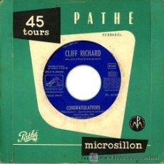 Discos de vinilo: CLIFF RICHARD EUROVISION 1968 CONGRATULATIONS. Lote 23896570