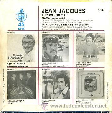 Discos de vinilo: JEAN JACQUES EUROVISION 1969 CANTA EN ESPAÑOL MAMA - Foto 2 - 11336824