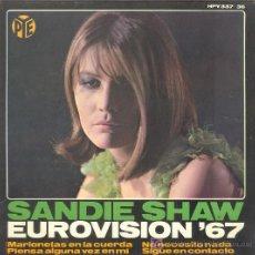 Discos de vinilo: UXV SANDIE SHAW SINGLE VINILO EUROVISION 1967 MARIONETAS EN LA CUERDA . Lote 26642086