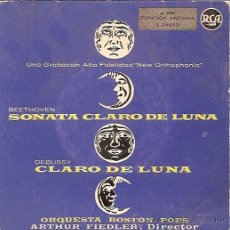 Discos de vinilo: ORQUESTA BOSTON POPS - SONATA CLARO DE LUNA / CLARO DE LUNA - SINGLE ESPAÑOL. Lote 11530269