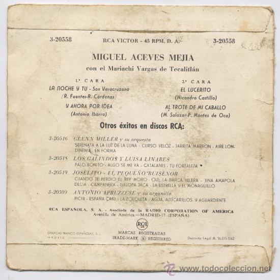 Discos de vinilo: DISCO *MIGUEL ACEVES MEJIA* - MARIACHI - 1962 - Foto 2 - 23071212