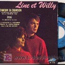 Discos de vinilo: EP: LINE ET WILLY: A CHANCUN SA CHANSON +3 ( EUROVISION MONACO 1968). Lote 19058258