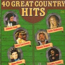 Discos de vinilo: JERRY LEE LEWIS / JOHNNY CASH / KENNY ROGERS, ETC - 40 GREAT COUNTRY HITS - DOBLE LP Y PORTADA -. Lote 11763710