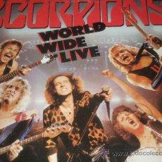 Discos de vinilo: SCORPIONS , WORLD WIDE LIVE , DOBLE LP 1985 ,, ,,. Lote 22145024