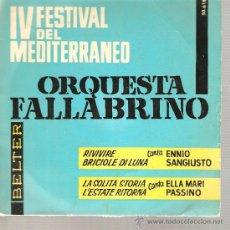 Discos de vinilo: EP FESTIVAL CANCION MEDITERRANEA - ENNIO SANGIUSTO + ELLA MARI PASSINO. Lote 25924203