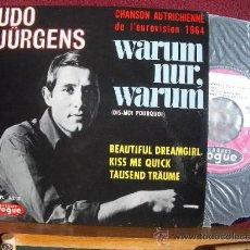 Discos de vinilo: UDO JÜRGENS: WARUM NUR, WARUM. CHANSON AUTRICHIENE EUROVISION 1964, EP 1964 VOGUE, NUEVO. Lote 11995216