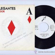 Discos de vinilo: LOS ELEGANTES. VINILO SINGLE 45 RPM. EL JUGADOR. ETIQUETA BLANCA. DRO AÑO 1992. Lote 26922693