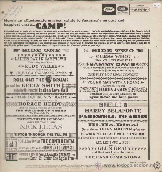 Discos de vinilo: CAMP! / Varios (LP ORIGINAL USA ) - Foto 2 - 12179699