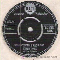 Discos de vinilo: DUANE EDDY - DANCE WITH ME GUITAR MAN / STRECHIN`OUT ** RECORDING FIRST PUBLISEDD 1958. Lote 26573845