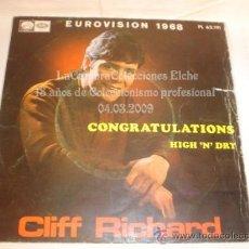 Discos de vinilo: DISCO SINGLE - CLIFF RICHARD, EUROVISION DE 1968, AÑO 1968.. Lote 12271893