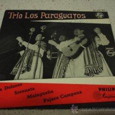 Discos de vinilo: TRIO LOS PARAGUAYOS (MARIA DOLORES - SERENATA - MALAGUEÑA - PAJARO CAMPANA) EP45 HOLANDA PHILIPS. Lote 12384084