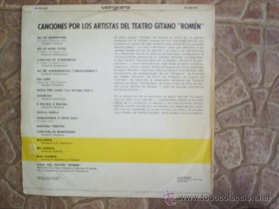 Discos de vinilo: L P CORO Y SOLISTAS DE TEATRO GITANO ROMEN 1968 - Foto 4 - 20786928