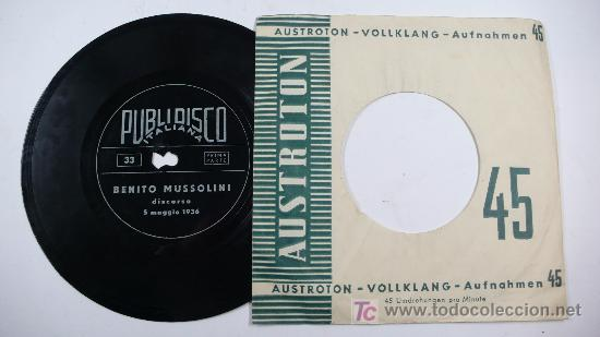 Discos de vinilo: BENITO MUSSOLINI. Discorso 5 maggio 1936. - Foto 2 - 13461121