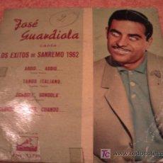 Disques de vinyle: JOSE GUARDIOLA. LOS EXITOS DE SANREMO 1962. SINGLE VINILO. Lote 12561847
