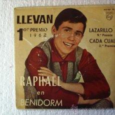 Discos de vinilo: RAPHAEL --1962 EN BENIDORM. Lote 21869302