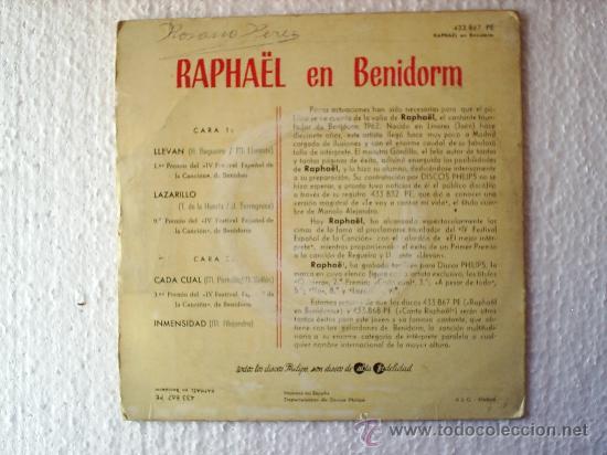 Discos de vinilo: RAPHAEL --1962 EN BENIDORM - Foto 2 - 21869302