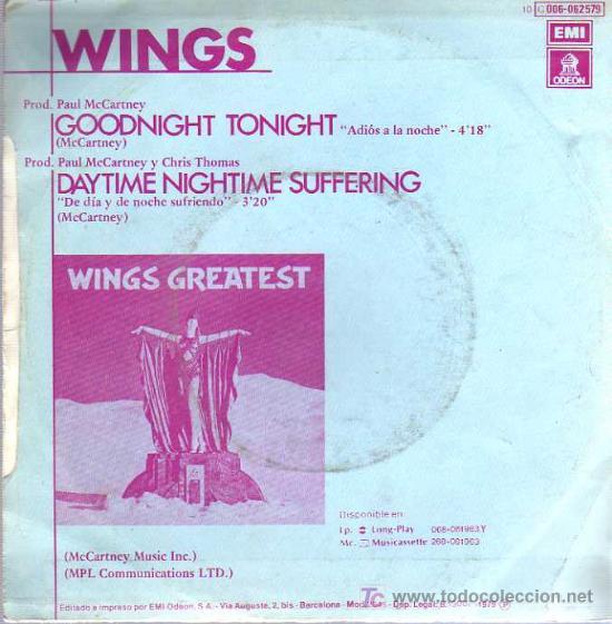 Discos de vinilo: SINGLE - WINGS - ADIOS A LA NOCHE / GOODNIGHT TONIGHT - Foto 2 - 22292314